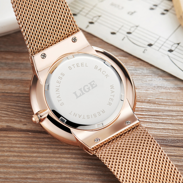 LIGE Men's Watches New luxury brand watch quartz-watch stainless steel