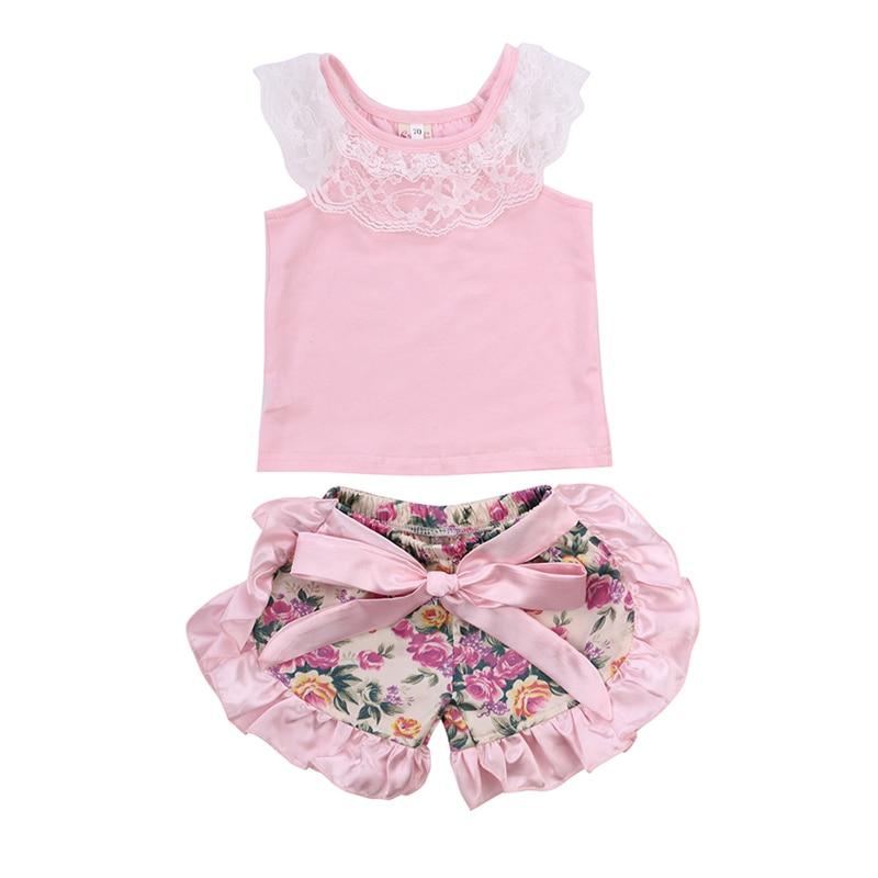 Cute Newborn font b Baby b font Girls Summer Sleeveless Lace Vest Tops Floral Bow Ruffles