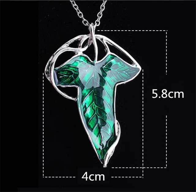 The Hobbit Green Leaf Pendant Elf Necklace