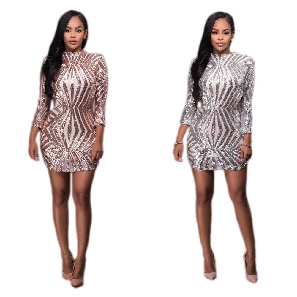 Goldene/Sliver Pailletten Clubwear, Figurbetontes Kleid Frauen ...