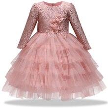 2018 States Spring Autumn New Children's Halter Dress Girl Big Bow Baby Flower Girl Lace Applique Long Sleeve Princess Dress