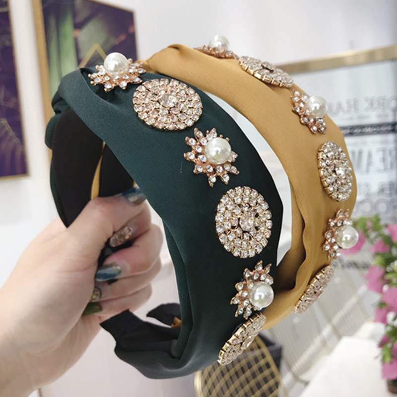Korea haar hoop Schwarz Tuch Verknotet Kreuz Krawatte Breiten Stirnbander Pelz Frauen Modus Schmuck Imitation Perle Kristall Haar Bands