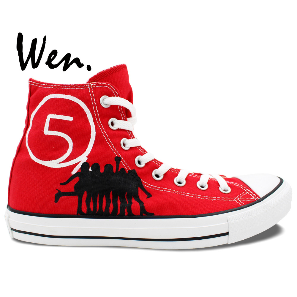 ФОТО Wen Red Hand Painted Shoes Design Custom Fifth Harmony High Top Women's Canvas Sneakers Women Girls Gifts