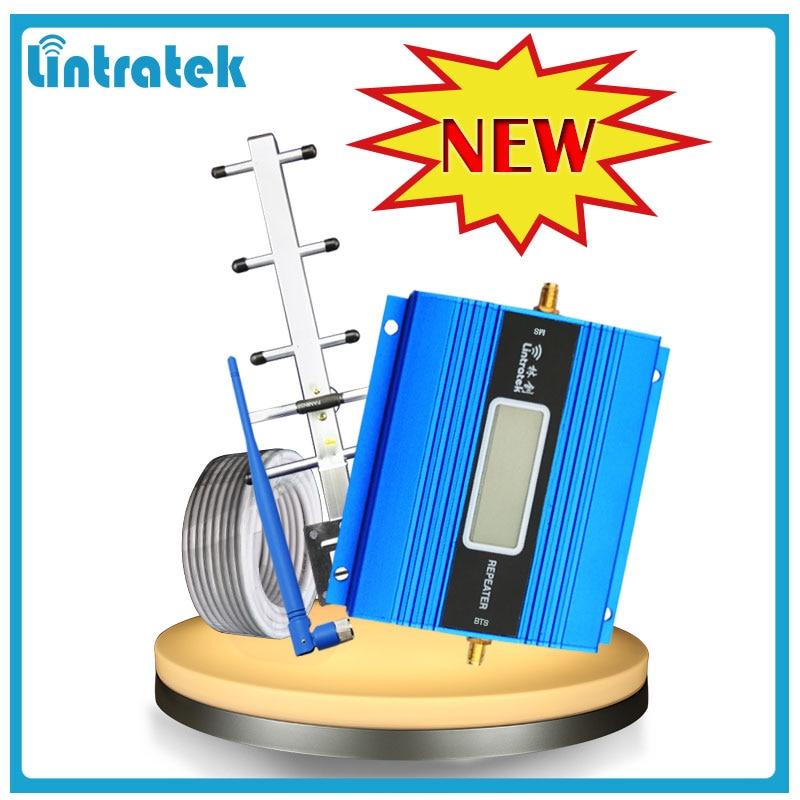 Lintratek pantalla LCD Mini repetidor 900 MHz teléfono celular móvil GSM 900 señal amplificador + Yagi antena con 10 m Cable