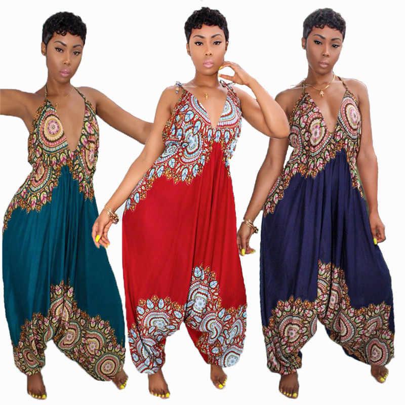 Dashiki Traditionele Afrikaanse Print Jumpsuit Vrouwen Harem Romper Zomer Losse Backless Baggy Jumpsuit Traditionele Afrikaanse Kledij