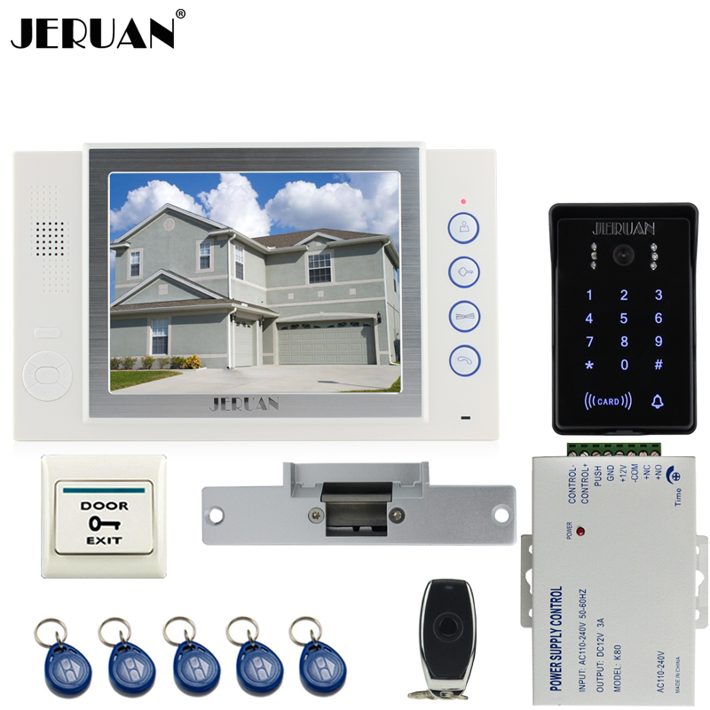 JERUAN 8`` LCD video doorphone Recording intercom system New RFID waterproof Touch Key password keypad Camera 8G SD Card Free