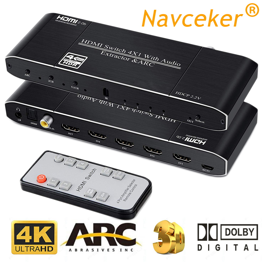 2019 Best 4K HDMI 2 0 Switch Remote 4x1 HDR HDMI Switcher Audio Extractor With ARC