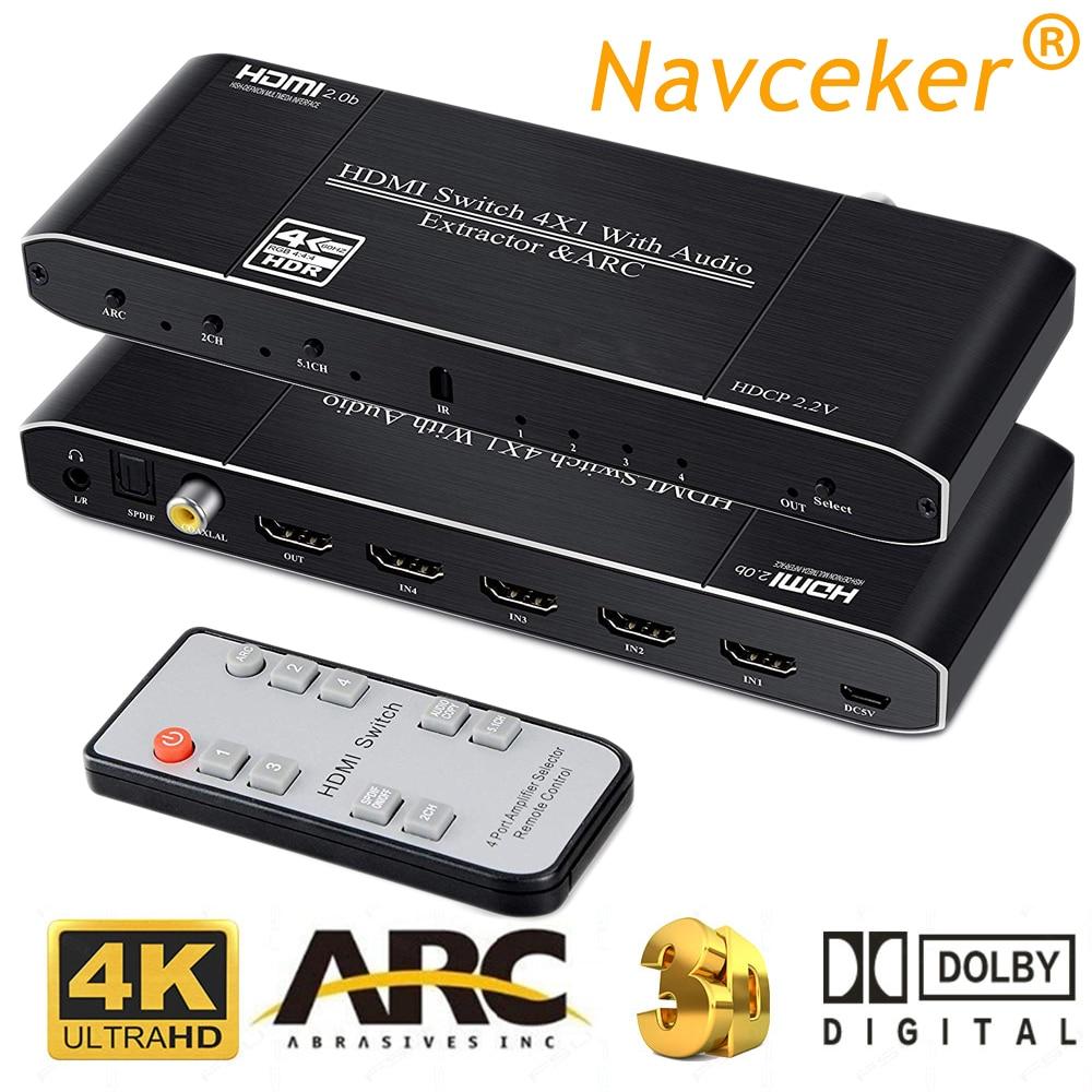 2019 melhor 4 k hdmi 2.0 interruptor remoto 4x1 hdr hdmi switcher extrator de áudio com arco & ir interruptor hdmi 2.0 para ps4 apple tv hdtv