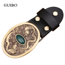Classic Brand Oval Solid Copper Brass Buckle Anti-allergy Men Belt Buckle Chinse Dragon Buckle Female Jeans Head Accessories(China)