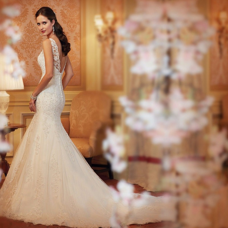 Wedding Dress O-Neck Sleeveless Court Train Lace Sexy 2017 Hot Sale Lace Mermaid Sexy Bridal Gown