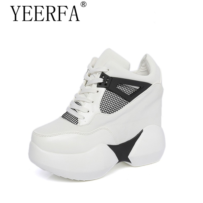 YIERFA 2017 Platform shoes Women Canvas Casual shoes height increased 12 cm breathable shoes female pink white size 35-39 e toy word canvas shoes women han edition 2017 spring cowboy increased thick soles casual shoes female side zip jeans blue 35 40