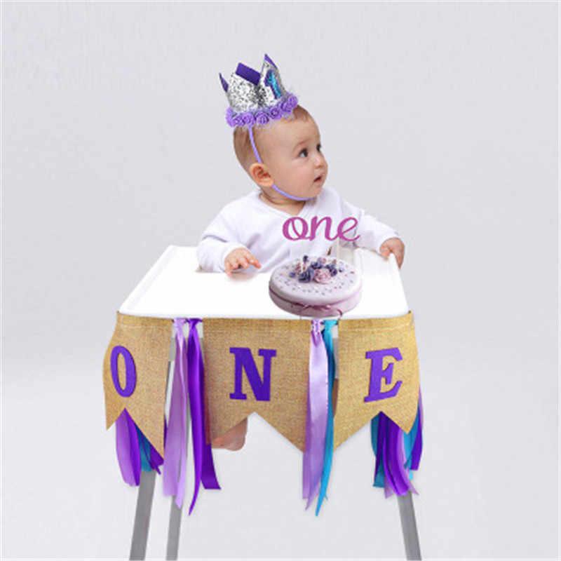 ใหม่ 1st Birthday Party Boy Baby Burlap Highchair แบนเนอร์ Bunting ตกแต่งเค้ก Topper และหมวกวันเกิดสีม่วง Decor