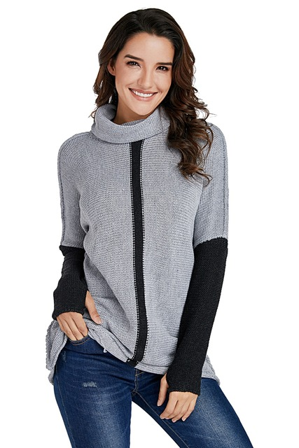 37e371cb33 Brown Apricot Individual Cowl Neck Pullover Sweater Women Long Sleeve  Patchwork Thumb Hole Sweaters Knitting Casual