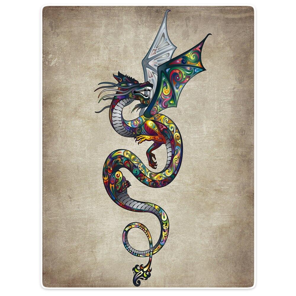HommomH couverture jeter confort chaud doux en peluche jeter pour canapé beau Dragon coloré Totem Animal Vintage Art fleur