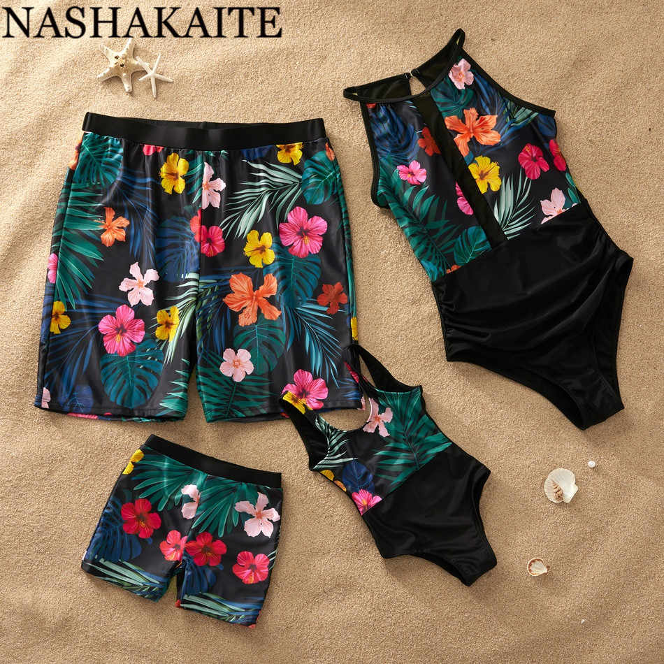 NASHAKAITE Family Look Mom and Daughter Swimsuit Patchwork Printed Mesh Mommy and me Swimming Suit Dad Son Beach Shorts