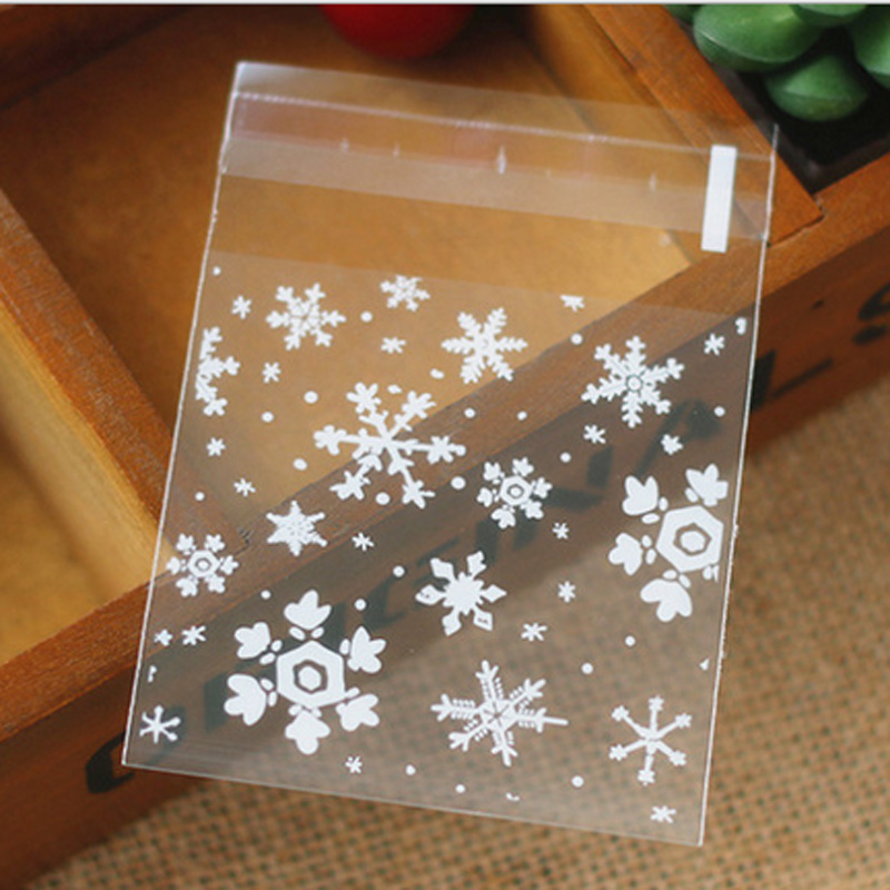 100pcs DIY Christmas Snowflake Cellophane Home Cookie Candy Biscuits Clear Bags