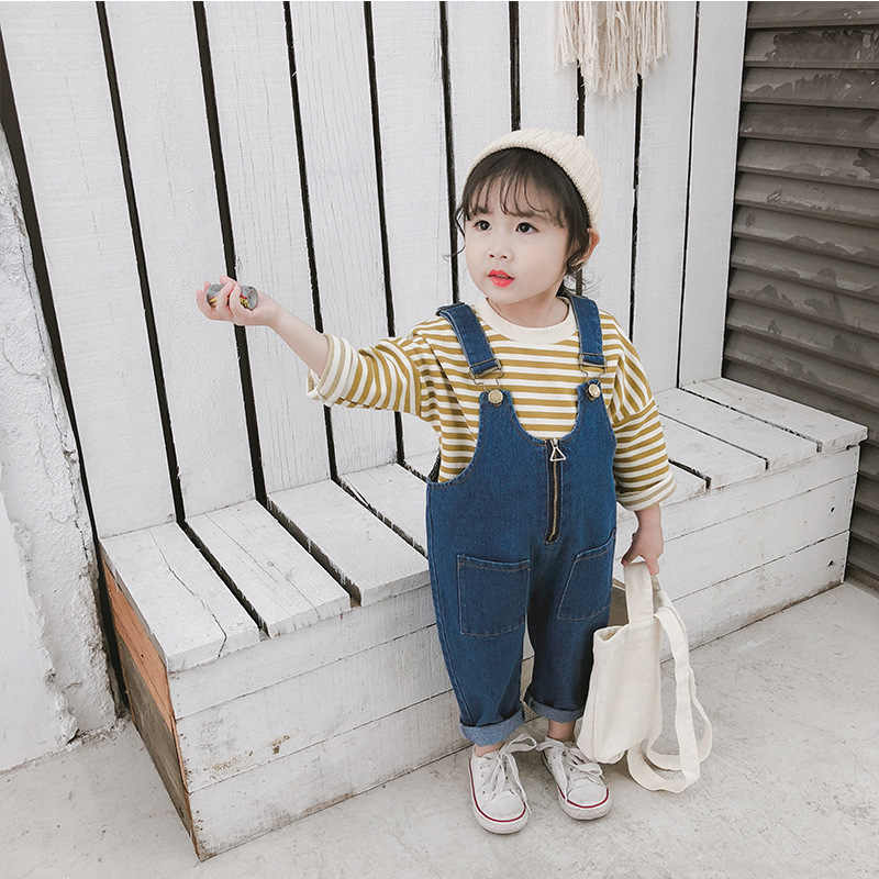 addfdf4401ab New Children Spring and Autumn Overalls Jeans Toddler Girls Cowboy Belt Pants  Baby Casual Denim Suspender