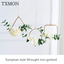 Ins Nordic style creative beautiful decoration living room bedroom wall hangings literary wrought iron wreath wall decoration