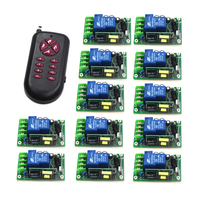 AC85V 250V 1CH Wireless Remote Control Switch System 12 Receiver 1 Transmitters For Appliances Gate Garage