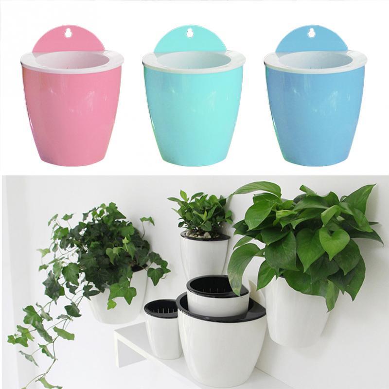 Настенные горшки, ленивый творческий, вода-бесплатная, интеллектуальные цветочные горшки, растения, зеленый, весна бонсай
