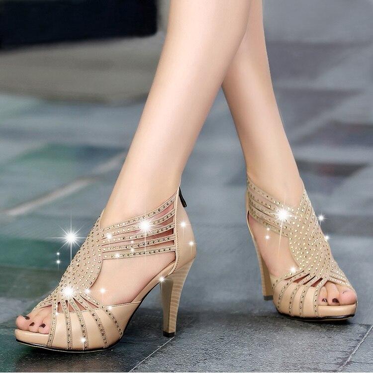 summer sandalias del alto talón zapatos de novia cristal roma a