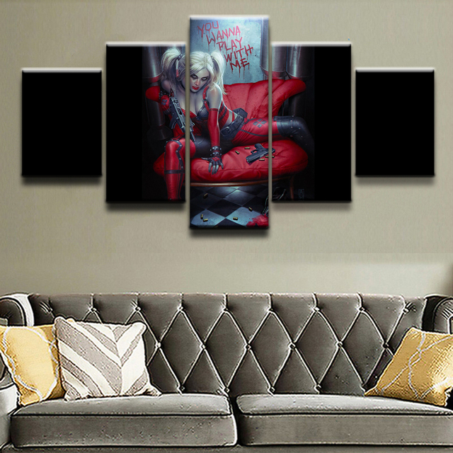 5 Panel Canvas Printed Comics Harley Quinn Painting For Living Room Picture Wall Art Decor Modern Artwork Suicide Squad Poster