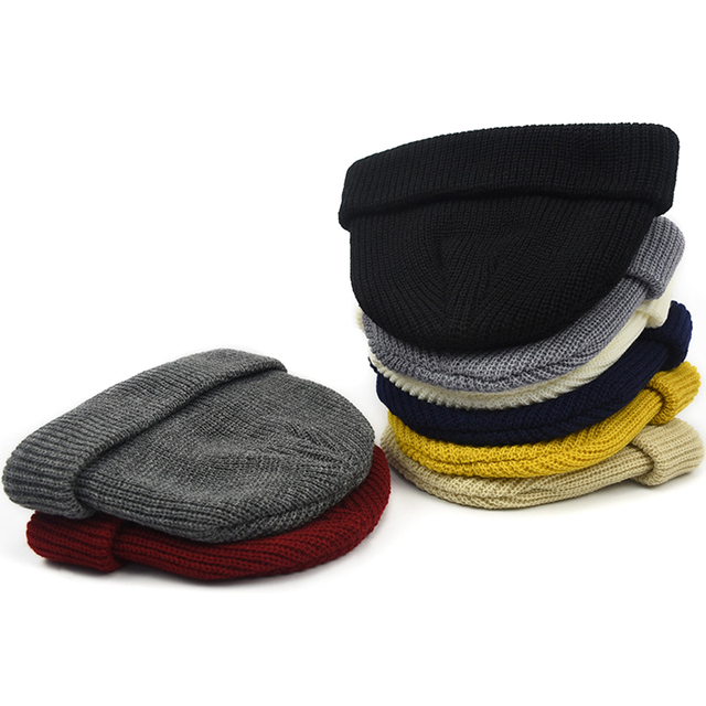 Men Knitted Hat Beanie Skullcap Sailor Cap Cuff Brimless Retro Navy Style Beanie Hat TT@88