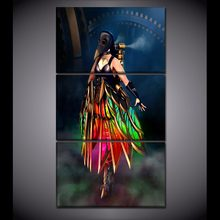 Sci Fi Steampunk Eagle Woman Painting Wall Art Modular Picture 3 Panel/Set High Quality Canvas Print Home Decorative Poster(China)