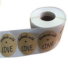 Хорошее 2 «дюймовый круглый ручной работы с любовью натуральный крафт-Наклейки с черным шрифтом 500 всего клей печать этикеток Стикеры label