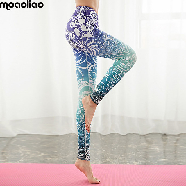 e839f1f544fbc Leggings Fitness Pants Purple Blue Women's Tracksuit Running Stunning  Beautiful Yoga Pants High Waist Floral Printed Leggings