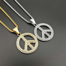 New Peace Symbol Anti-War Sign Necklace Pendant Gold Color Stainless Steel Chains For Men Women Hip Hop Iced Out Collier Jewelry