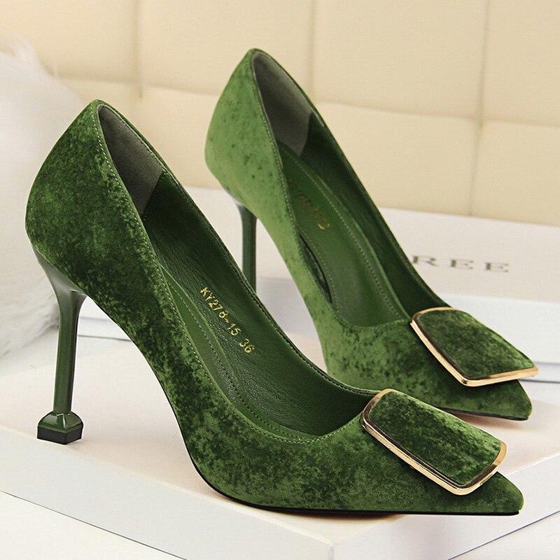 New Women Pumps Spring High Heels Shoes Suede Women Shoes High Heels Pumps Sexy Stiletto Red Women Dress Shoes Women's Shoes