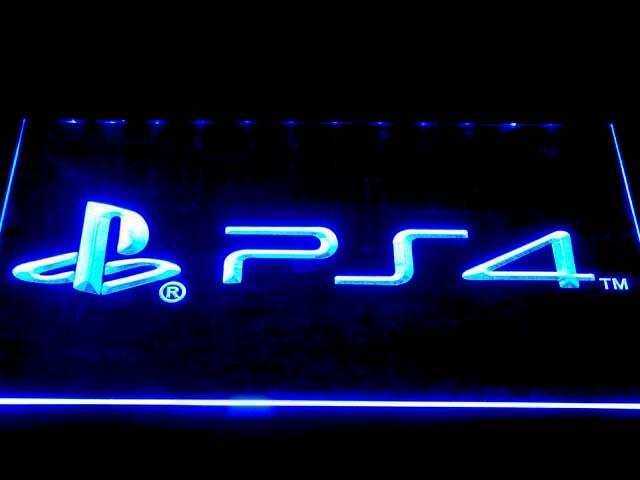 E174 Playstation 4 PS4 LED Neon Licht Zeichen mit Auf/Off Schalter 20 + Farben 5 Größen zu wählen