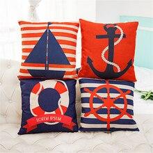 Marina Blue & Red Stripe Funda de Almohada de Memoria 100% Cojín de Algodón de Lino cubierta No Core Hogar Oficina Sofá Silla de Coches Decora No se desvanecen