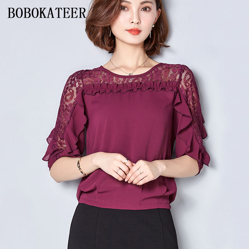 a69136b9e7 BOBOKATEER chiffon blouse lace top women blouses blusas femininas plus size  shirt women tops camisas mujer vetement femme 2018 | imarket online shopping