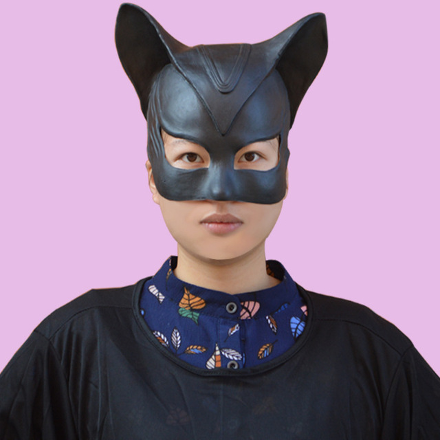 black catwoman mask headgear half face latex mask halloween party mask lady popular cosplay costume masks