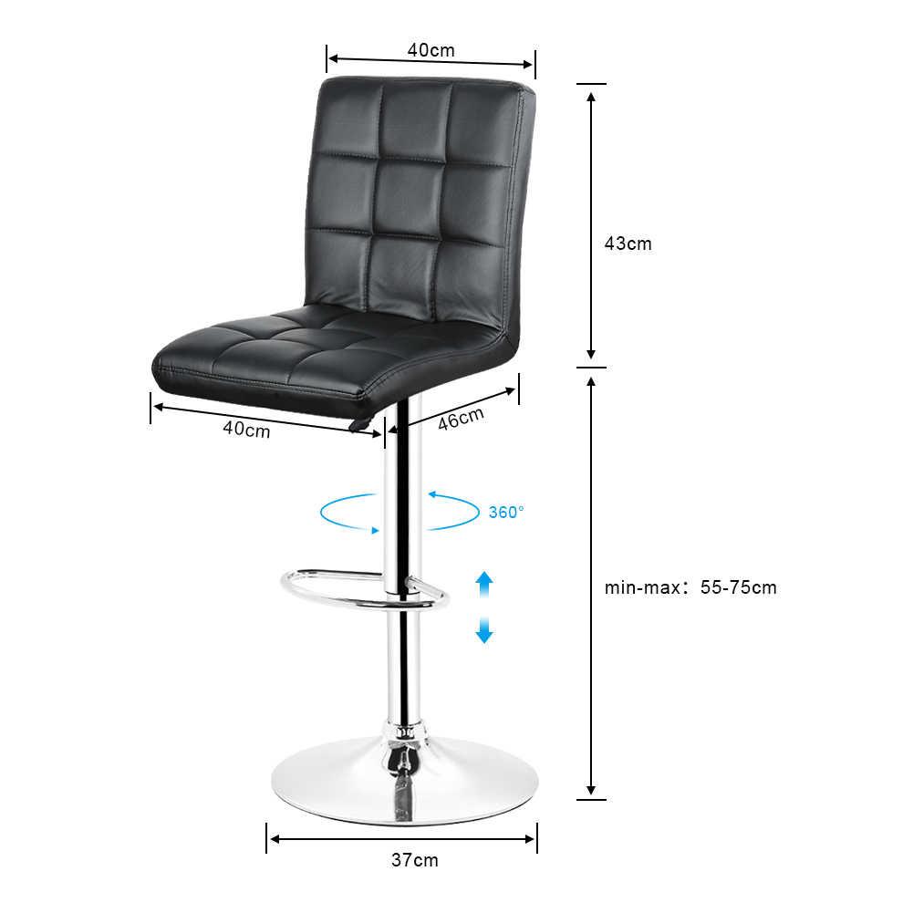 Jeobest 2 шт./компл. черный барные стулья регулируемая высота шарнирного соединения кожаный стул труба Современная Стиль табурет DE стоковые вещи HWC