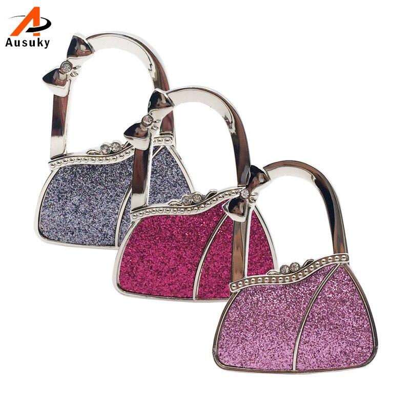 Luxury Diamond Metal Alloy Handbag Bag Hook Bag Hook Folding Table Buckle Bag Bright Skin Hook Hanger Bag Holder 30 lily flowers pattern metal foldable purse handbag hook table bag holder