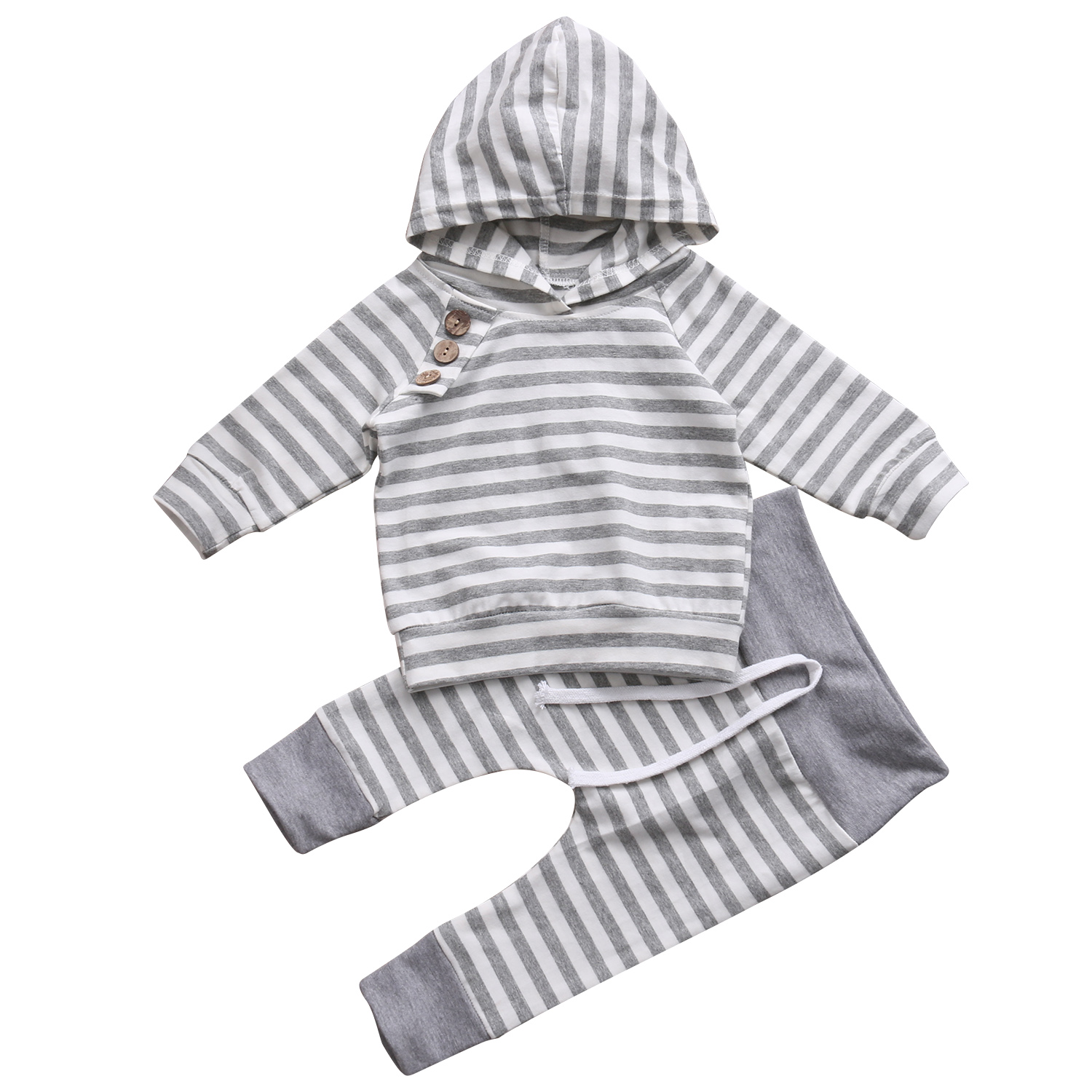 Newborn Kids Toddler Baby Boy Girl Outfits Hooded Long Sleeve Striped Tops T-shirt+Pants Clothes Set