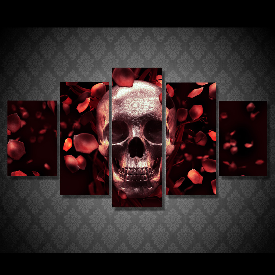 HD Printed roses skull full res Painting Canvas Print room decor print poster picture canvas Free shipping/ny-4921
