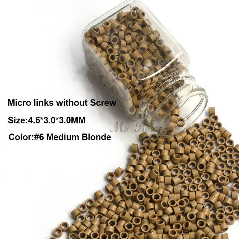 Наращивание волос Микро Кольца Инструменты 4.5*3.0*3.0 ММ 1000 Шт./Бутылка Русый #6 Волос расширение Бисер Алюминий Micro Ссылки