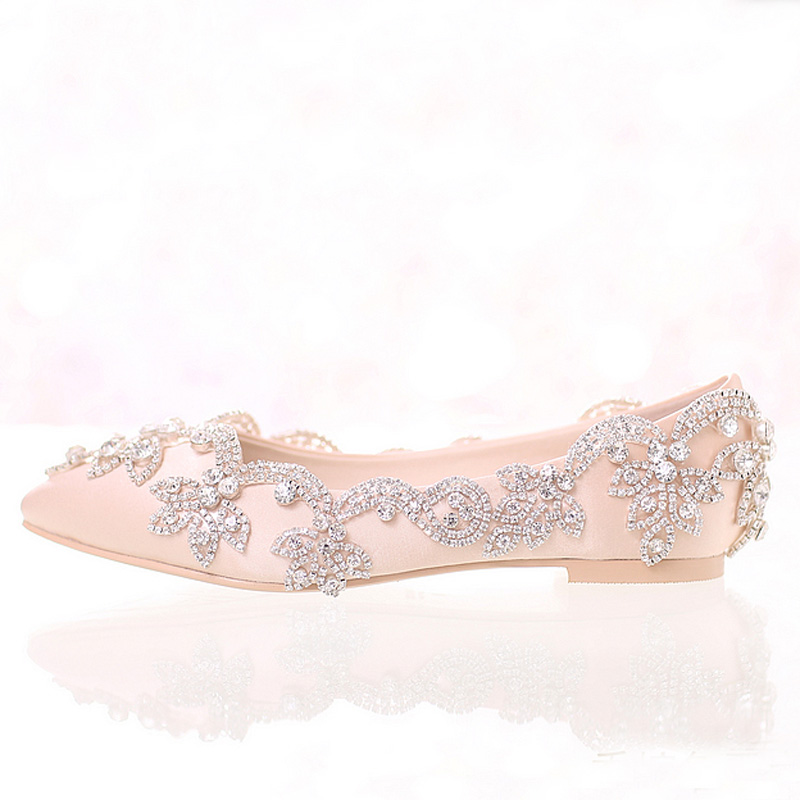 47ebf51716ff Champagne Satin Bridal Wedding Dress Shoes Flat Heel Pointed Toe Formal  Dress ShoesLady Party Prom Dancing Shoes Rhinestone-in Women s Flats from  Shoes on ...