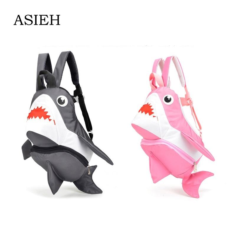 Boy girl anti-lost schoolbag children's Cartoon 3D shark pack backpack  lovely Child pack mochila School stationery pencil case