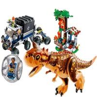 Genuine BELA 10926 593Pcs Jurassic World Carnotaurus Gyrosphere Escape Building Block Toys For Children Compatible Legoe 75929