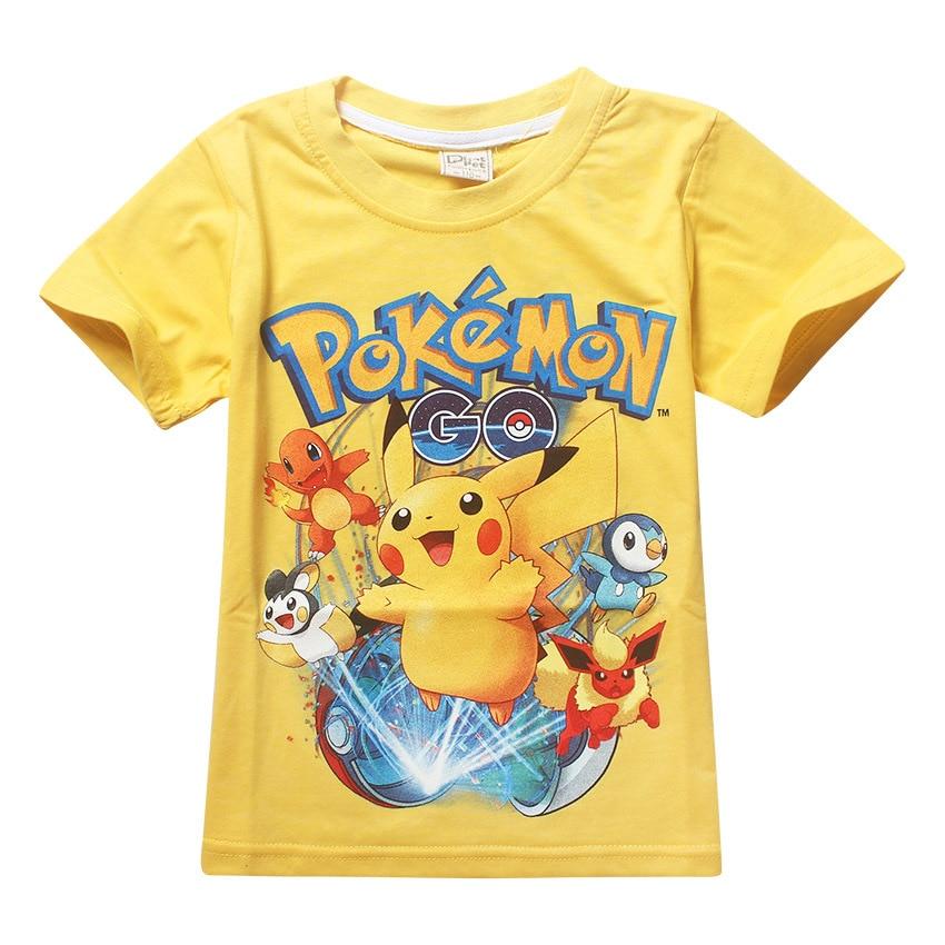 2018 Summer children pokemon go tshirt kids pokemon t shirt for girl tops tees boy clothes tshirt cartoon 3-10Years baby clothes