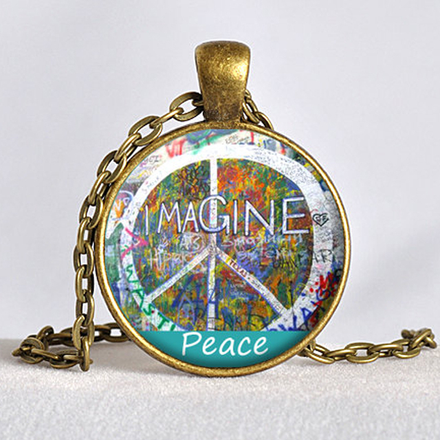 JOHN LENNNON Pendant Lennon Wall Jewelry Imagine Peace Jewellry John Art Rainbow Colors