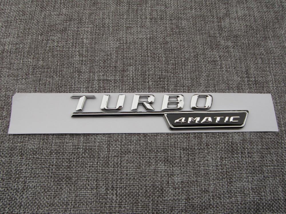Chrome TURBO 4MATIC Number Letters Trunk Badge Emblem Decal Sticker - Reservdelar och bildelar - Foto 3