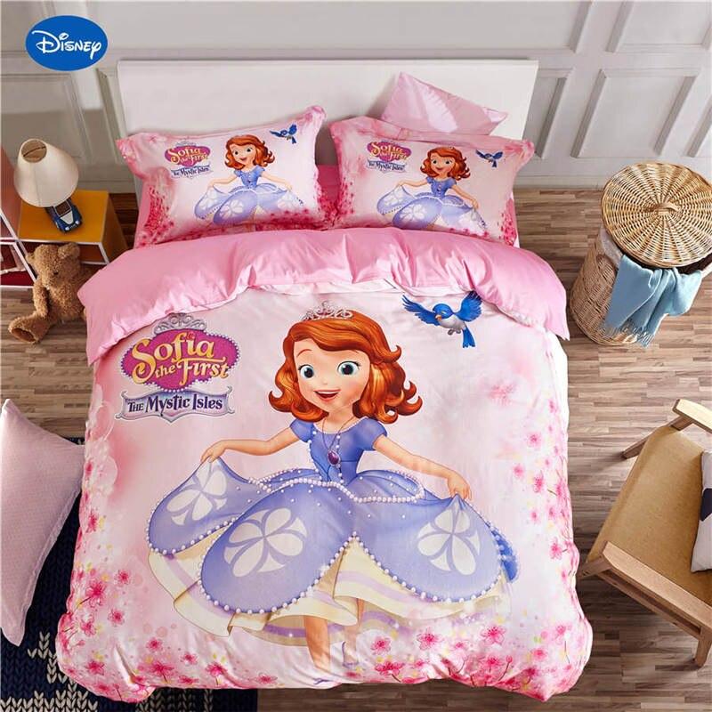 Ensemble de literie Sofia rose ensemble de couverture de couette 100% coton unique reine taille beauté princesse fille draps disney taie d'oreiller enfant