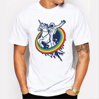 New Funny Astronaut Ride A Horse Design T Shirt Hipster Tops Cool Short Sleeve Tees LX31