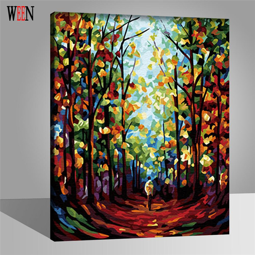 WEEN Forest Man Wall Pictures Painting By Numbers DIY Handpainted Canvas Art Coloring By Numbers Wall Poster For Living Room in Painting Calligraphy from Home Garden